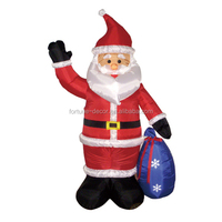 180cm/6ft inflatable santa claus wave right hand with gift bag on left hand for christmas decoration