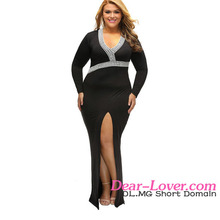 Hot Selling Black Plus V Neck High Slit Plus Size Evening Gown Dress