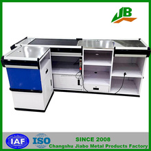 supermarket stainless checkout counter with conveyor belt