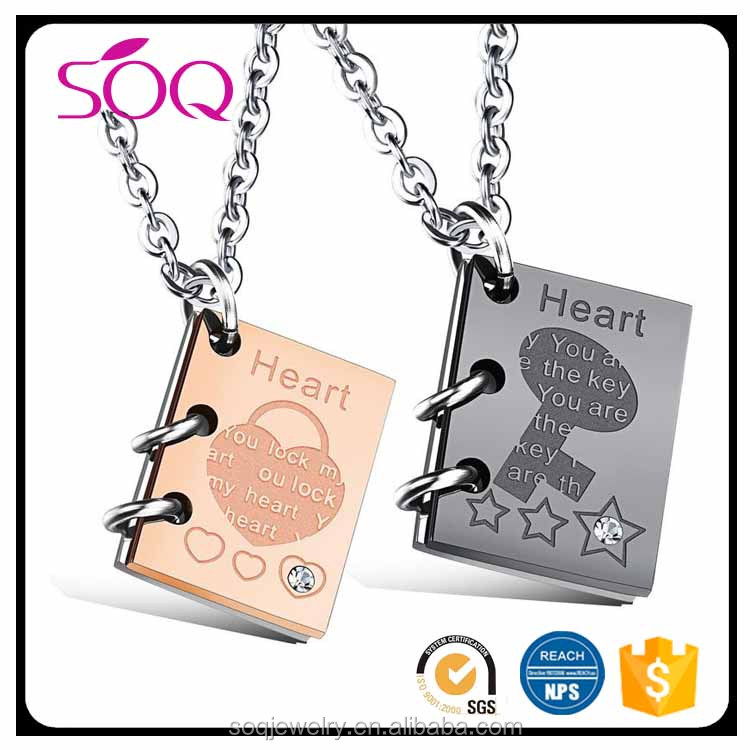 Hot selling simple diamonds students book key lock stainless steel couple necklace