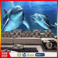 customized big size free 3D dolphin wall papers home decor