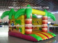 panel theme printing inflatable family use palm trees jumper house