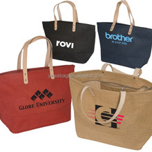 Hot sale shopping jute bags with leather handles shoulder bag with Zip pocket eco friendly hessian shopping bags