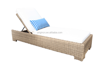 Simple hotel patio leisure furniture for sunbathing with adjustable back rattan bali bed outdoor