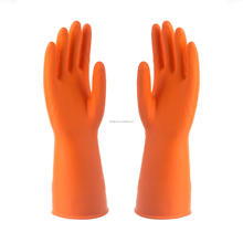 low price hand protective latex glove Dip flock lined long latex gloves