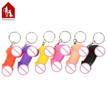 Plastic Spring Penis Key Ring 1 Piece Kinky Naughty Key Chain Pendants Exotic Sex Product Sex Toy