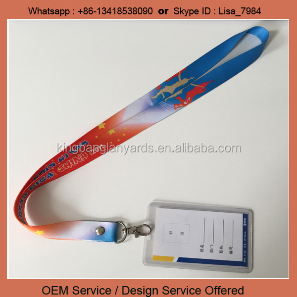 Polyester Material lanyard with name tags plastic id card holders with lanyards