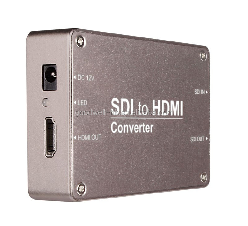 Heavy Duty Aluminum Housing HD-SDI to HDMI Adapter Converter 1080p for Driving HDMI Monitors with Double Power Supply System