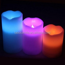 Himalayan Glow Wave Top Pillar LED Wax Candle with Remote, Set of 3