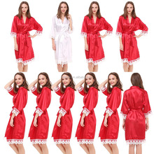 Elegant Kimono Cheap Fancy Bathrobe Set Bride and Bridesmaid Lightweight Comfortable High Quality Satin Lace Trim Satin Robes