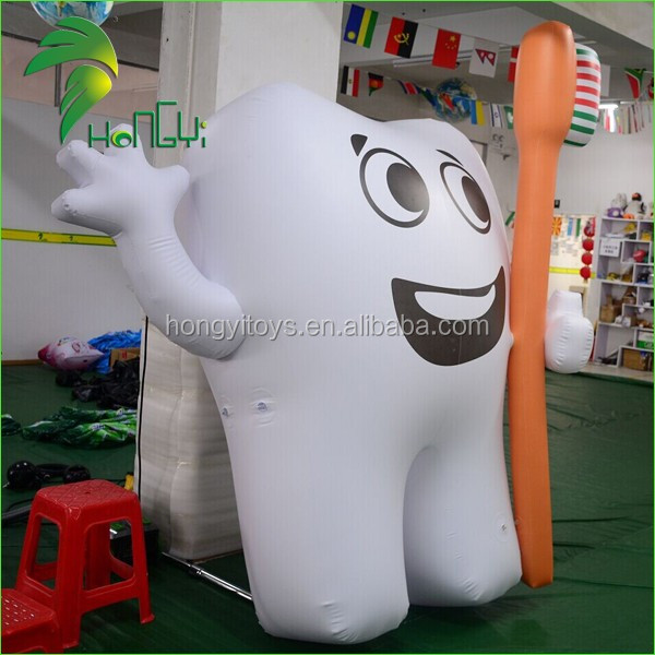 Newest High Quality Advertising Inflatable Tooth Balloon , Promotional Inflatable Tooth With Toothbrush For Advertising