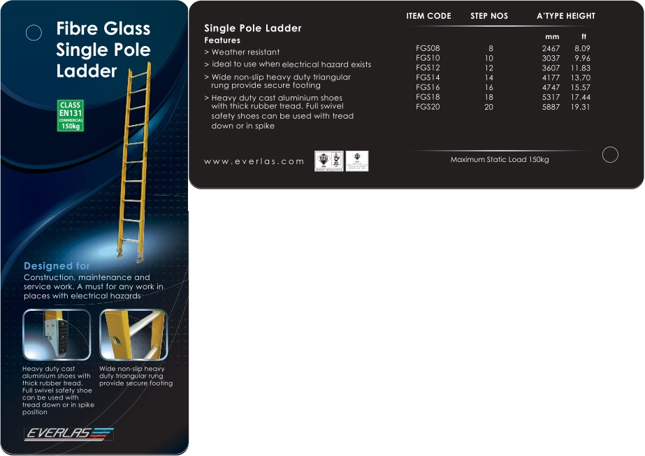 Everlas Fiber Glass Single Pole Ladder
