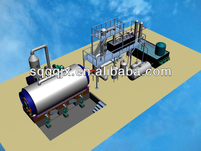 Waste tire recyling equipment solid waste equipment rubber and plastic to fuel plant