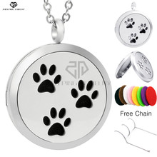 Cute Three Paw Print Stainless Steel Aromatherapy Diffuser Lockets Aroma Pendants