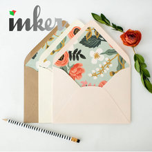 Romantic floral printed envelope birch paper envelope liners lined envelopes