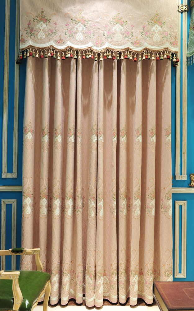 Good quality slub Chenille jacquard blackout PINK curtain fabric with super unique embroidery for living room XN611-15