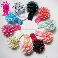 Headband big flower,chiffon flower baby girl satin knnitted headband,flower dot headband