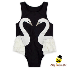 Children Classical Summer Black And White Swan Ruffle Baby Girl Beach Wear One Piece Bubble Swimsuit For Kids