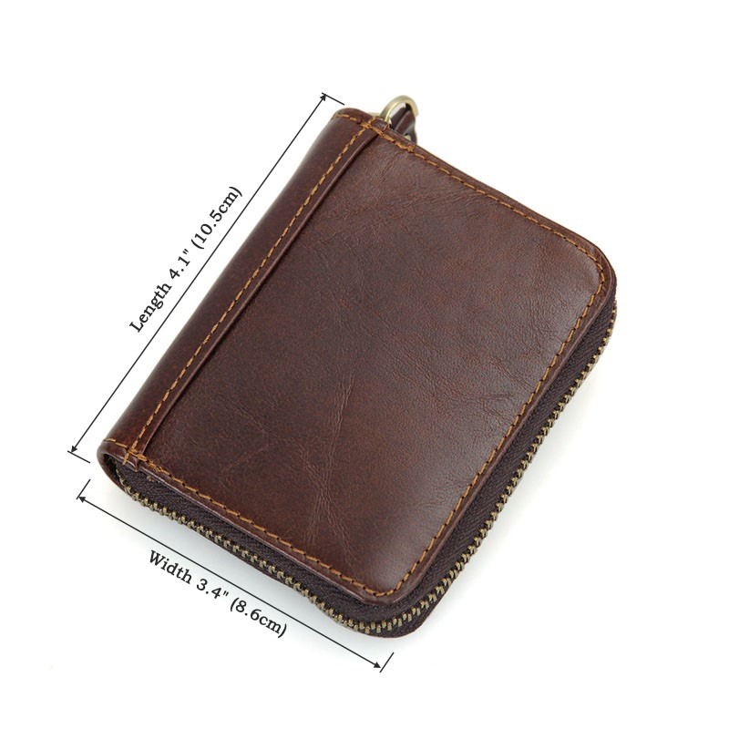 R-8117Q J.M.D Newfangled 100% Cowhide Leather Zipper Around RFID Card Holder