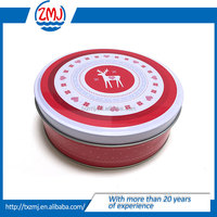 Round tin can /Christmas gift tin box /CMYK offset round tin box for candy packing