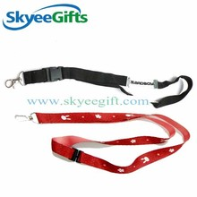 Cheap custom heat transfer silk- printed sublimation polyester lanyard with metal hook