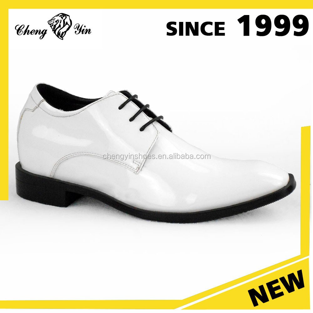 New Arrival Genuine Leather Formal Elevator Men Dress Shoes White Leather