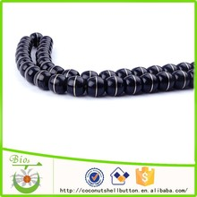 High polished black color 114pcs apple shape exquisite coconut shell customized beaded watch strap accessory supplies