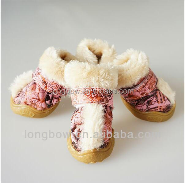 New style colourful PINK faux suede leather fabric with gum outsole pet shoes suit for cold winter