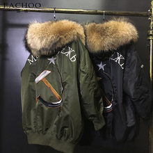 Newest real fox fur parka for women brand military Fur Lined Parka