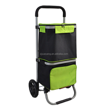 YY1604-2 New Style good quality Two Bags folding shopping trolley cooler bag with wheels