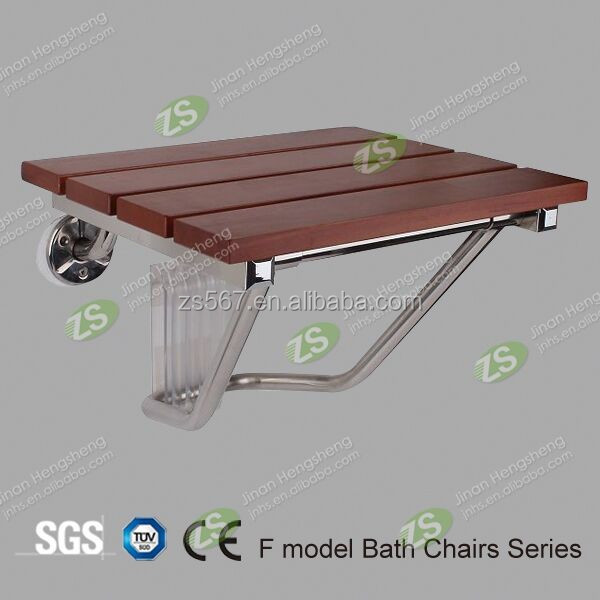 Wood Folding Shower Chairs With Stainless Steel Base