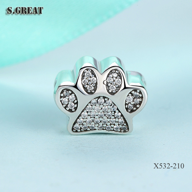 16 wholesales 925 silver paw prints clear CZ charms fit pandora charms for bracelets