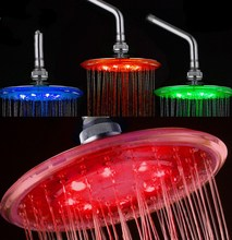 Bathroom rainfall top overhead shower increases pressure Led light ceiling shower head
