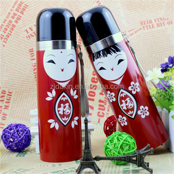 2014 Hot Sell Insulated Double Wall Stainless Steel Vacuum Bullet Thermos Flask To Keep Drinks Hot & Cold Lid Can