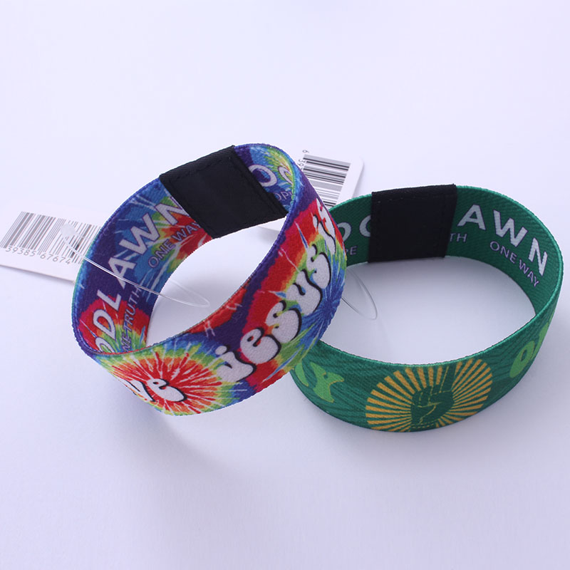 Polyester custom logo printed elastic fancy wristbands