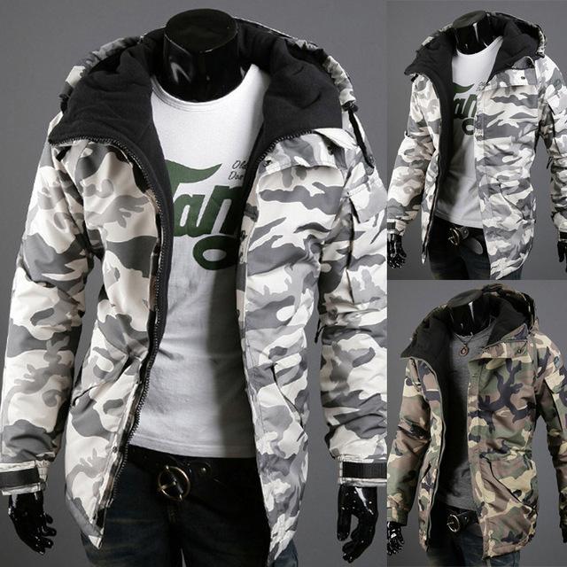 Newest fashion men hoody padding camouflage winter bomber jacket M/L/XL/2XL