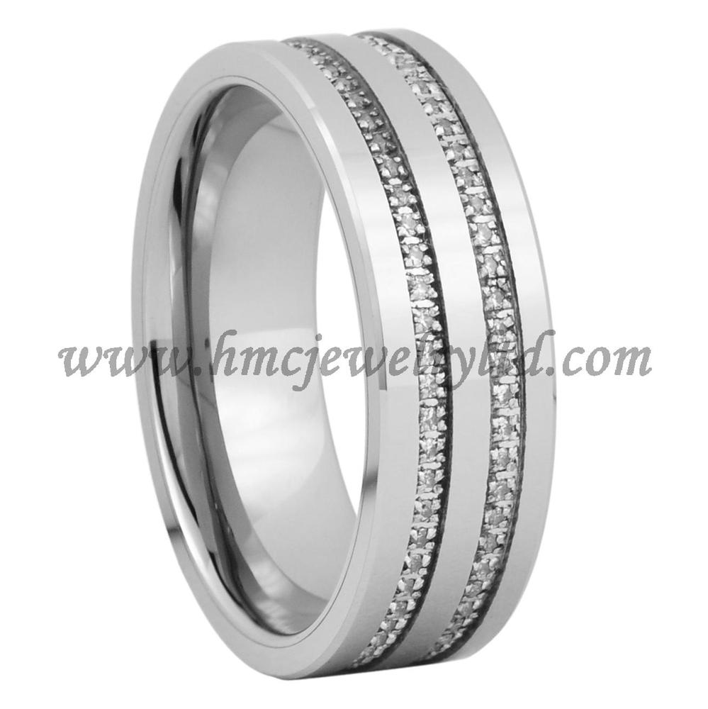 High Tech Tungsten Carbide Wedding Ring Rings Channel Setting Stones