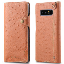 Ostrich Pattern Note8 Genuine Leather Mobile Phone Case for Samsung Galaxy Note 8 Wallet Case Leather