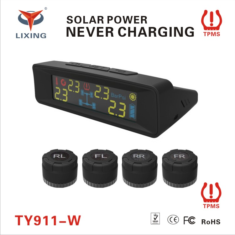 Car Tire Pressure Monitoring System wireless TPMS with solar charging function
