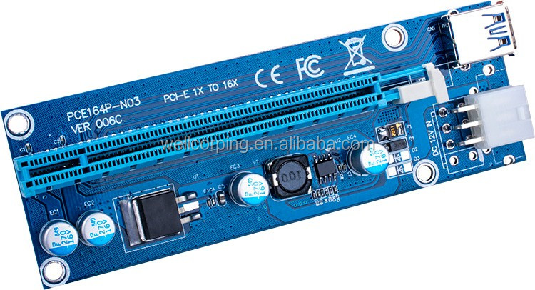 PCI Express pcie Riser 1X to 16X with usb3.0 cable converter card for Bitcoin with molex
