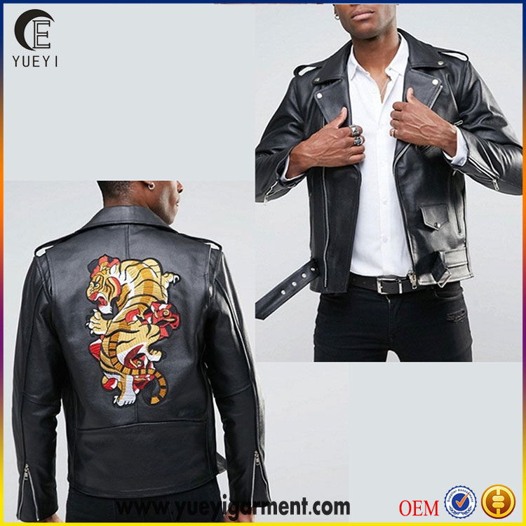 top high quality man clothes faux leather bomber motorcycle jacket with back patch