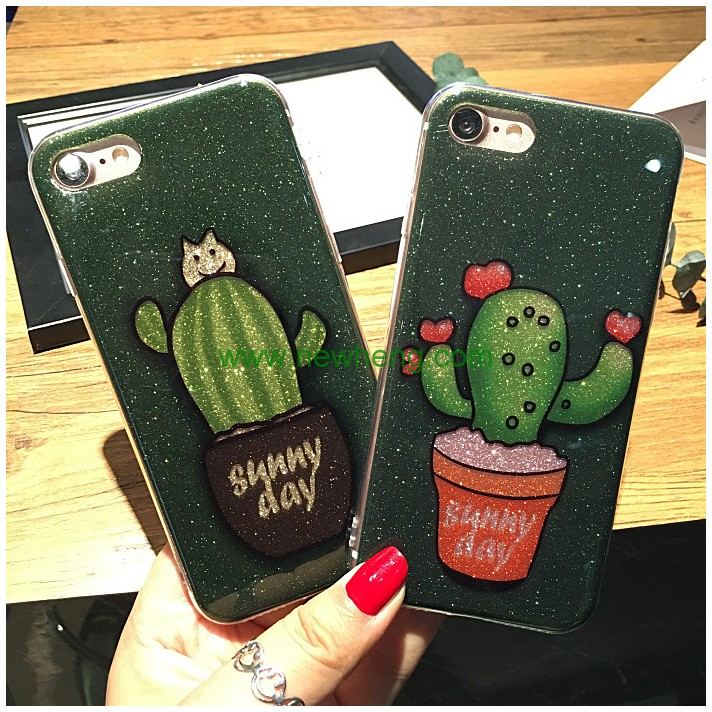 New Arrival 3D Custom plants Cactus Glitter TPU Gel Moblie Phone Case for iPhone 7 plus