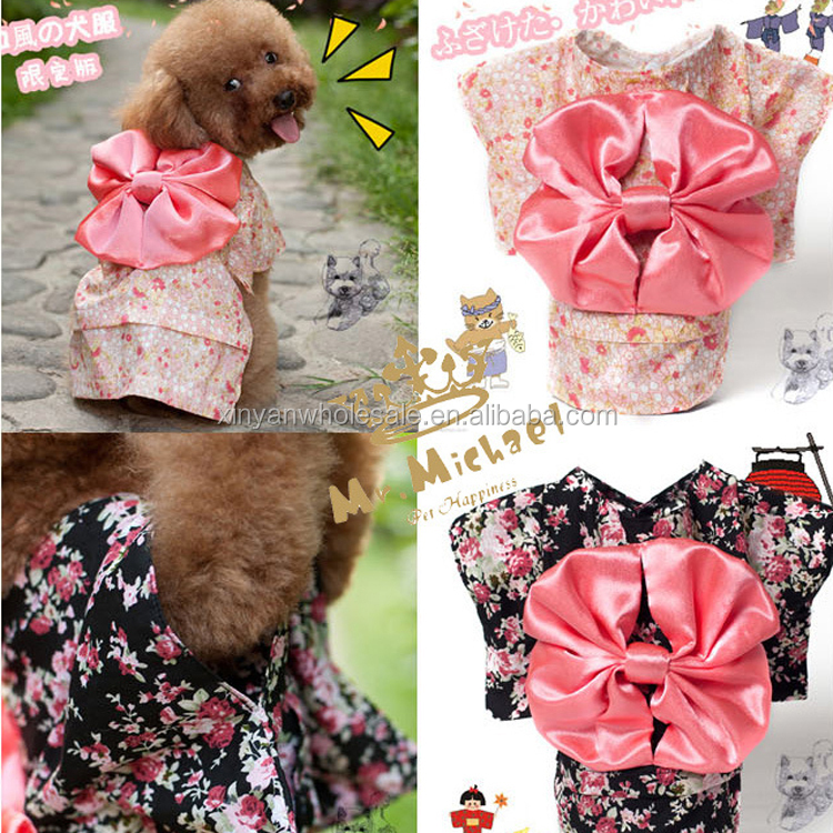 MKO Pet Clothing Dog Dress Clothes Floral Japanese Kimono Bow Tie Shirt Costume Princess Dress vestido pet