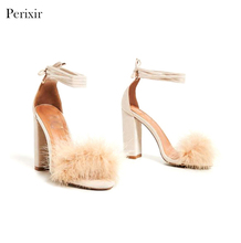Fluffy Women Sex Jeans Fashion Sandal High Heel