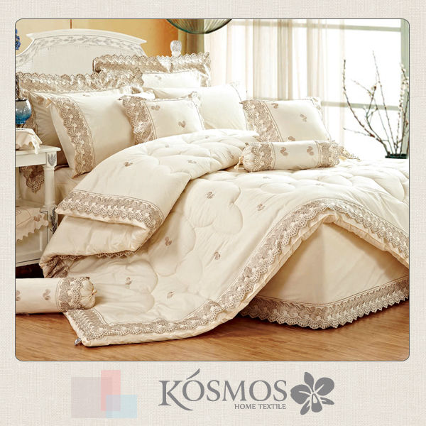 9 piece home textile customized embroidered design bedskirt polyester fancy bedroom set