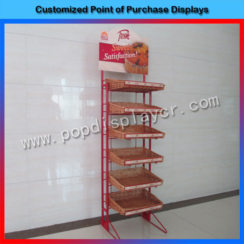 2016 New products metal cup bread display rack for retail store