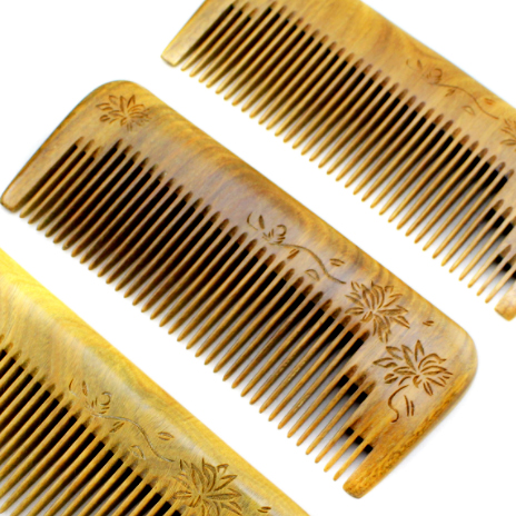 Flat top personalized Handmade Wooden hair growth Comb