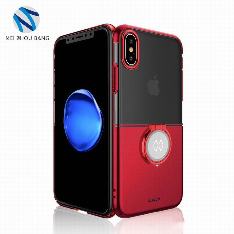 double color PC cell phone cover case with ring holder for iPhone X