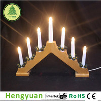 7L C6 Natural Color Wooden Christmas Candle Bridge Light Decorations
