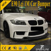 PU 1M E90 Front Bumper with 3D Carbon Fiber Front Spoiler for BMW 325i E90 LCI Sedan 4-Door 09-11